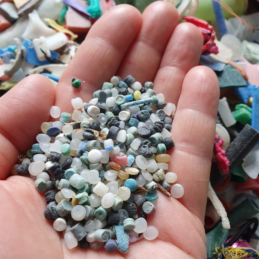 Tiny Pieces Of Marine Debris In The Hand Of Michelle Costello From Smartie Lids On The Beach