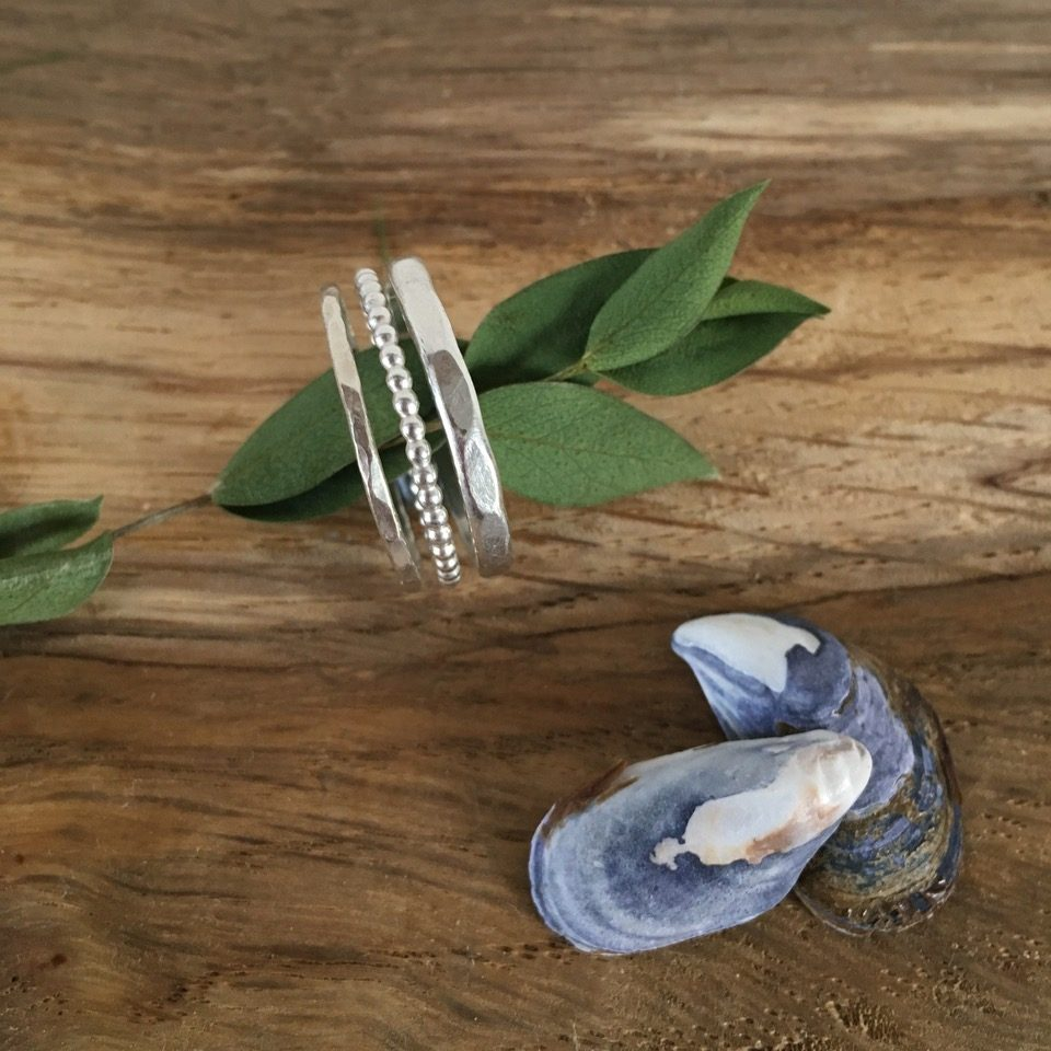 Three Sterling Silver Stacking Rings By Porth Jewellery