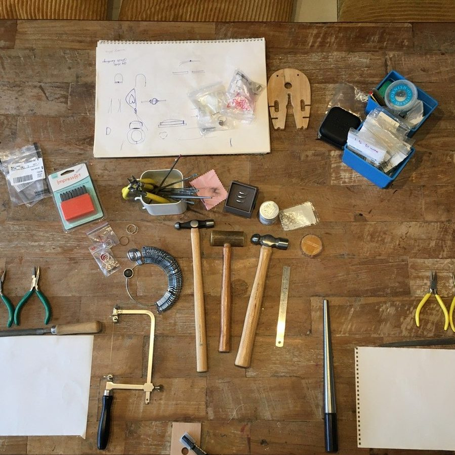 Workbench Laid Out For Stacking Rings Workshop With Porth Jewellery