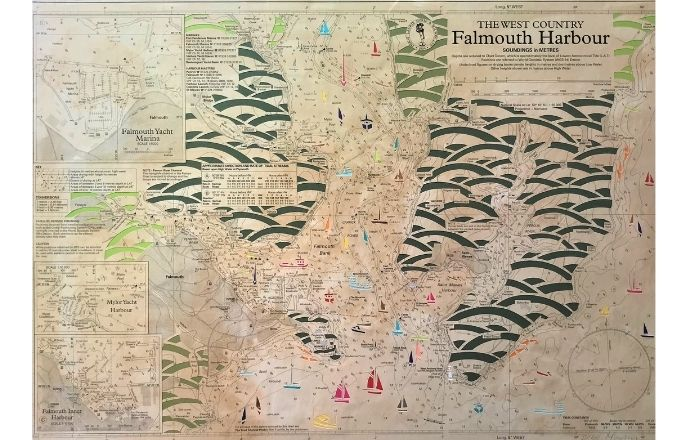 Handcut Repurposed Vintage Map Of Falmouth Harbour Paper Cut Art By Debs Martin