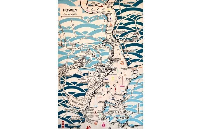 Handcut Repurposed Vintage Map Of Fowey Paper Cut Art By Debs Martin