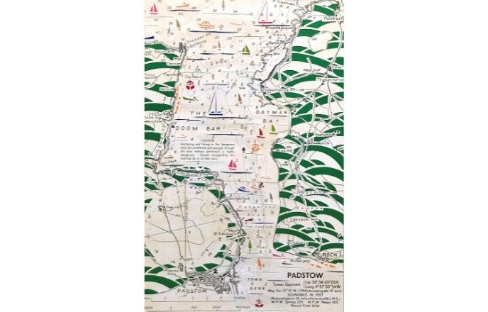 Handcut Repurposed Vintage Map Of Padstow Paper Cut Art By Debs Martin