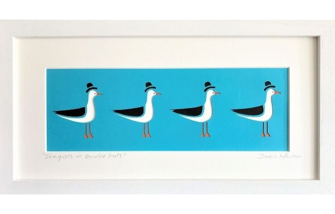 4 Seagulls In Bowler Hats Paper Cut Art By Debs Martin