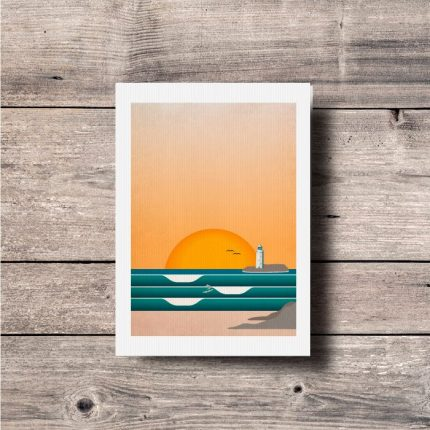 Contemporary illustration print of waves at Godrevy lighthouse by Single Fin Collective
