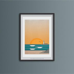 Framed Contemporary Illustration Print Of Waves At Godrevy Lighthouse By Single Fin Collective