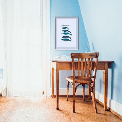 Digital illustration print shown of different type of Whales by Single Fin Collective, shown framed in a roomset