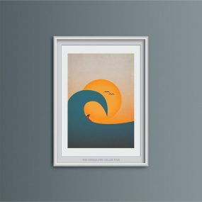 Framed Contemporary Illustration Print Of Surfer Riding An Overhead Wave By Single Fin Collective