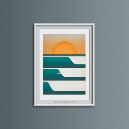 Framed contemporary illustration print of three waves at sunset and a surfer by Single Fin Collective