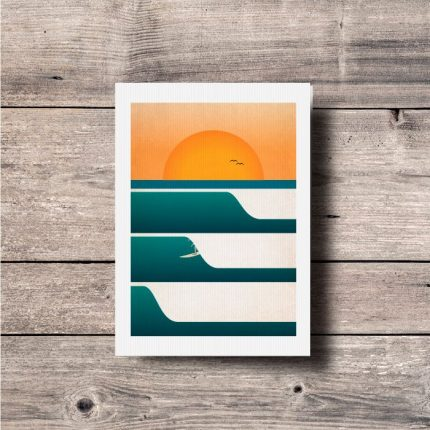 Contemporary illustration print of three waves at sunset and a surfer by Single Fin Collective